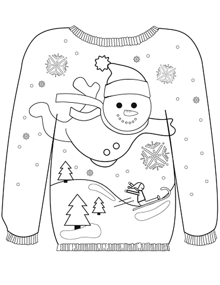 Winter clothes coloring pages to download and print for free