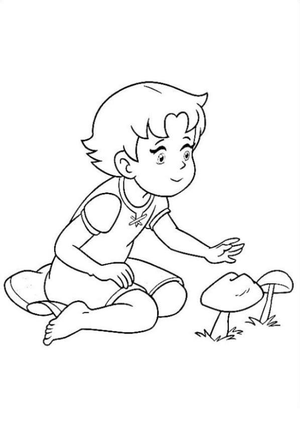 Heldi, girl of the Alps coloring pages to download and