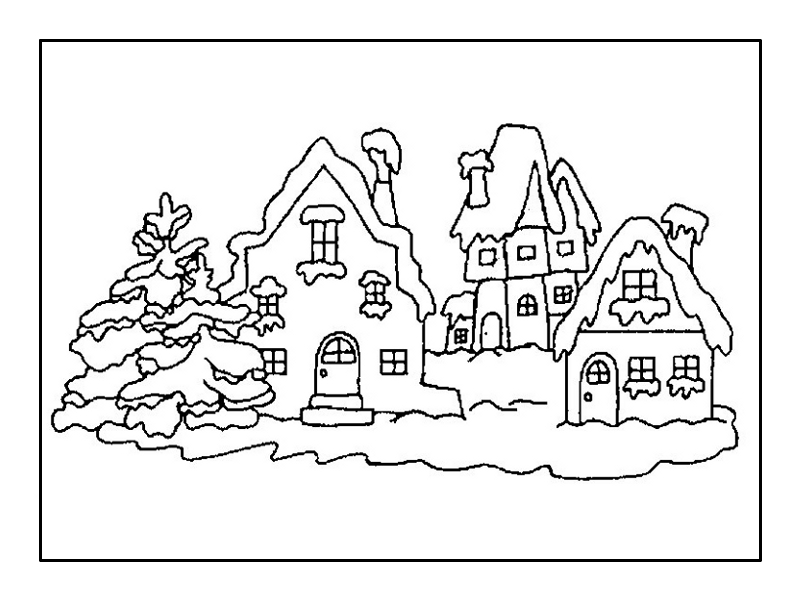 Winter landscape coloring pages to download and print for free