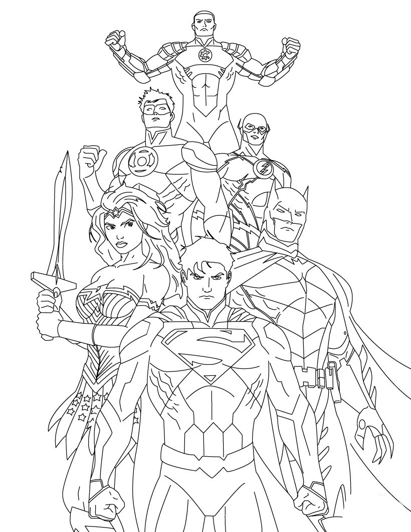 Justice league coloring pages to download and print for free