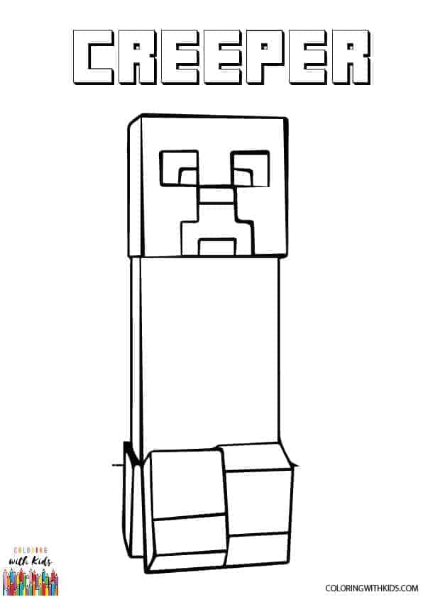 Minecraft Coloring Pages Creeper : minecraft, coloring, pages, creeper, Minecraft, Creeper, Coloring, Coloringwithkids.com