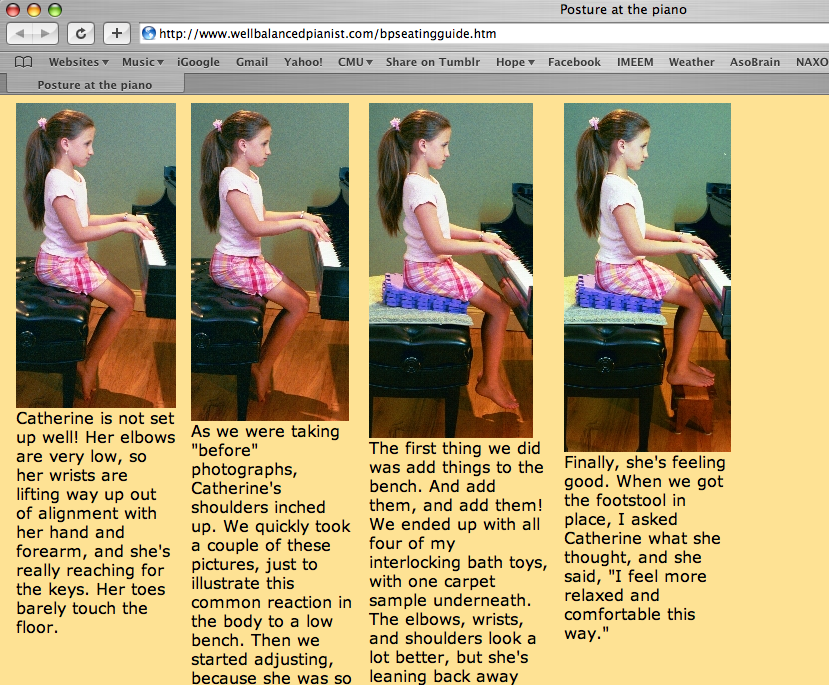 Photos Demonstrating Proper Posture At The Piano Color