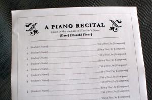 Piano Recital Program Template #1 - Color In My Piano