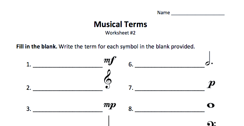 Just Added Musical Terms Worksheet 2 Color In My Piano