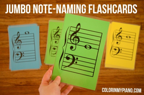 image regarding Musical Note Flashcards Printable identify Jumbo Notice-Naming Flashcards - Colour Within just My Piano