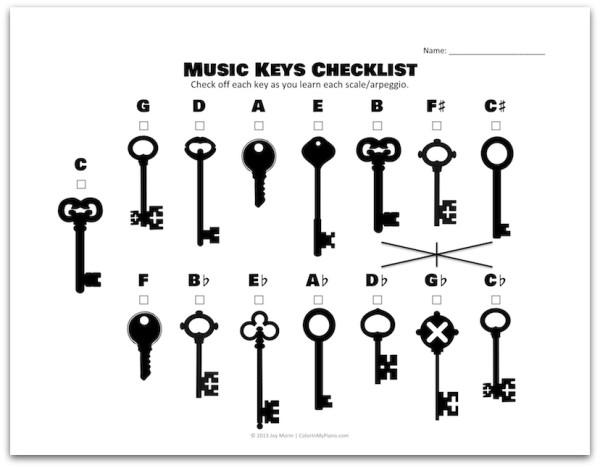 Music Keys Matching Worksheets & More
