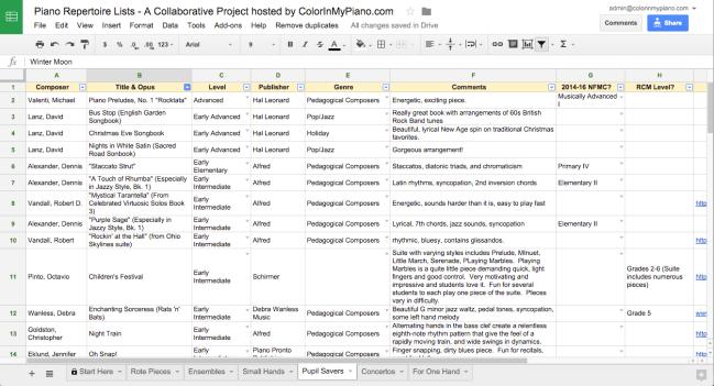 collab repertoire list screenshot
