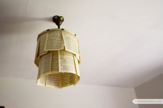 Craft Project Sheet Music Shade For A Hanging Light Bulb Fixture