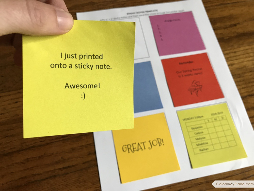 free printable sticky notes template color in my piano. Black Bedroom Furniture Sets. Home Design Ideas