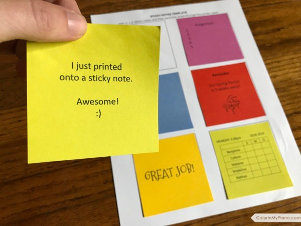 free printable sticky notes template color in my piano
