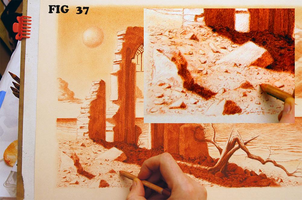 Realizzare un disegno di paesaggio fantastico a sanguigna  Colori Sognanti