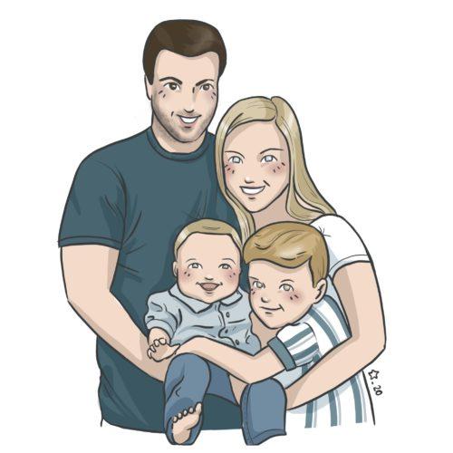 Illustration : Portrait buste d'une famille de quatre personne. Les parents et deux enfants