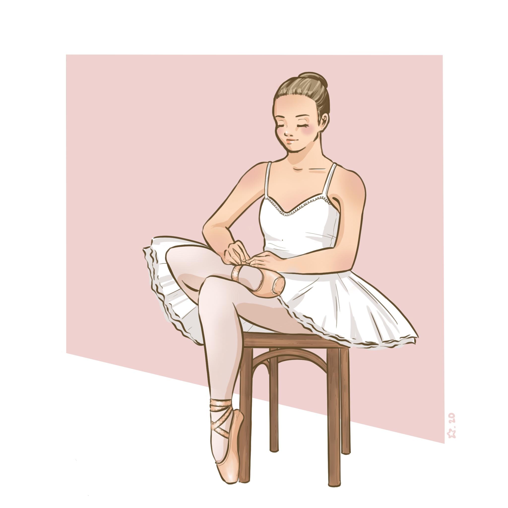 Illustration : portrait d'une danseuses faisant son lacet de chaussure de danse