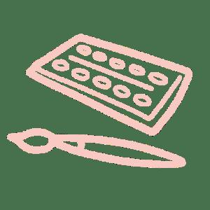 Illustration : A propos / pictogramme palette aquarelle