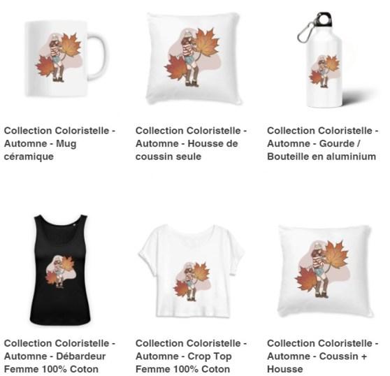 illustration : exemple de produits vendus sur monsweat.fr avec mes illustrations