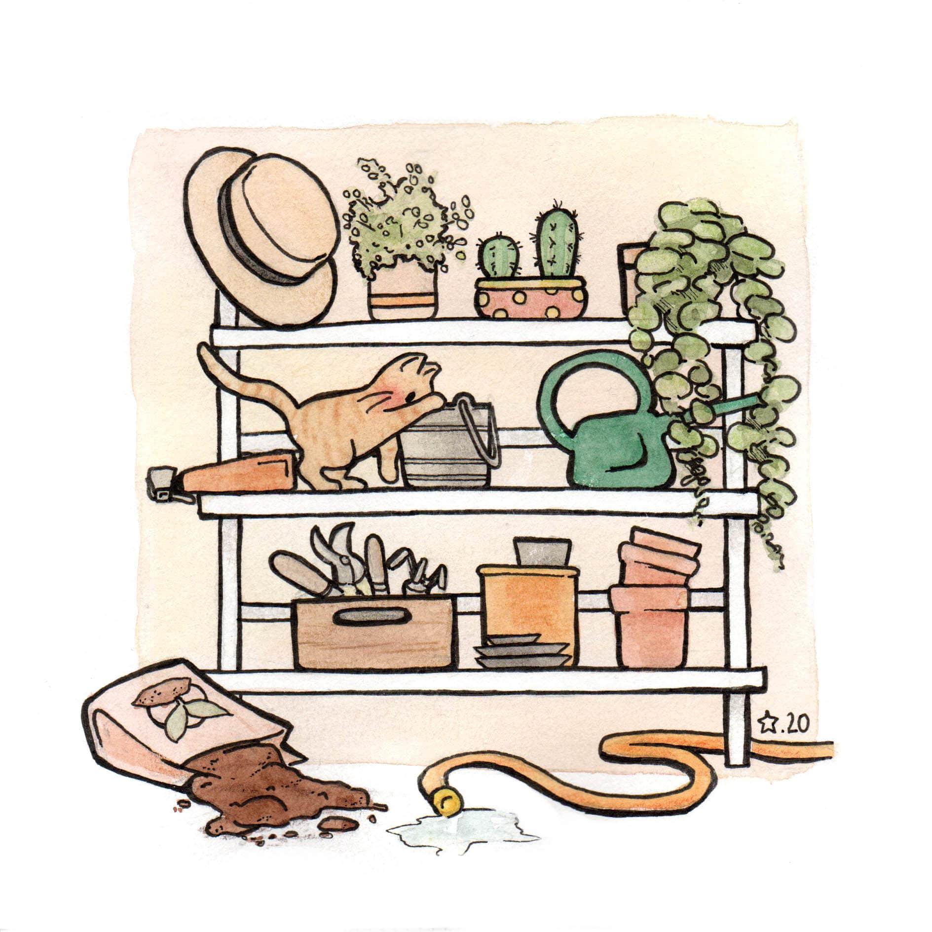 Illustration : représentation de cannelle qui fait des bêtises dans la remise de jardinage de petit Nours Aquarelle