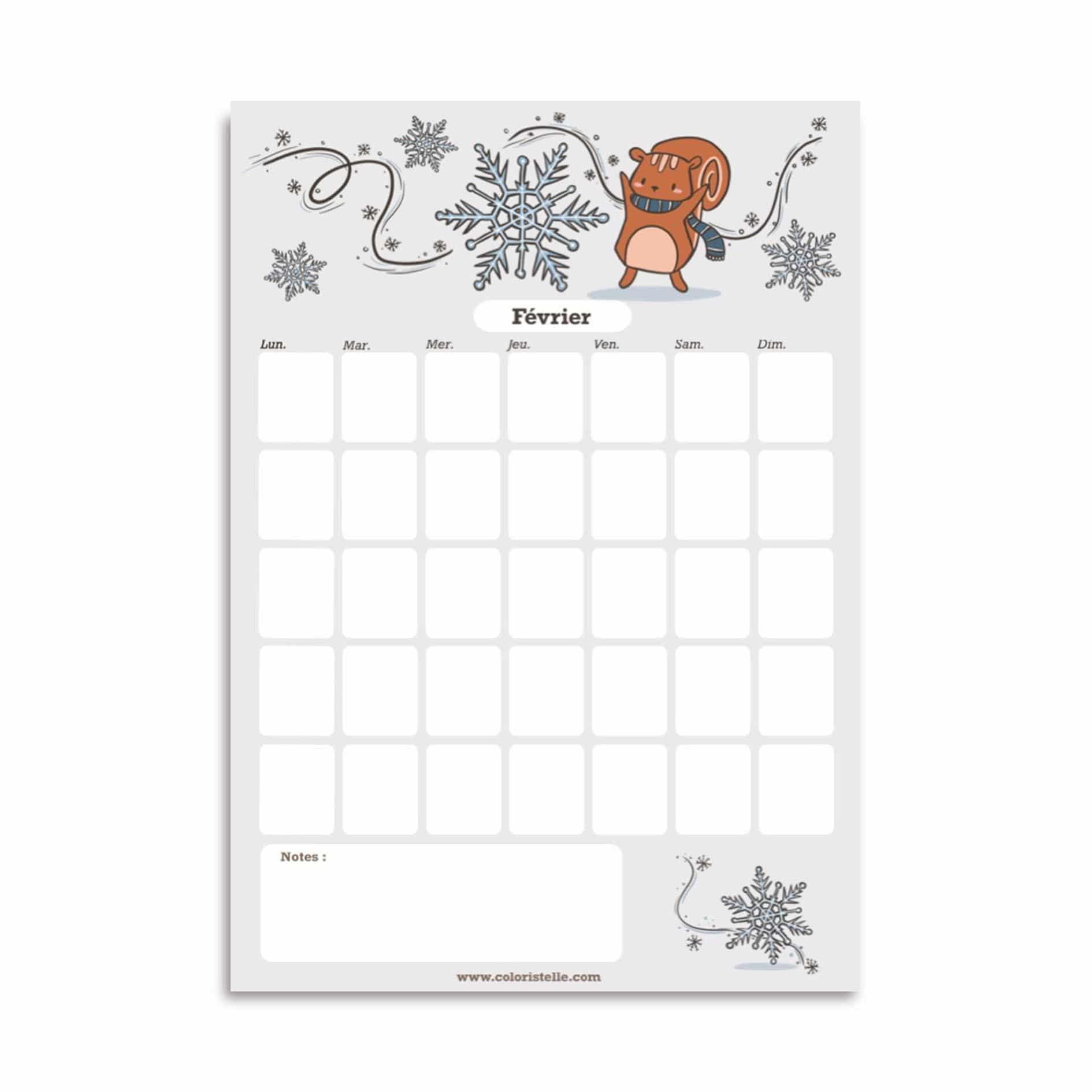 Illustration : calendrier de février à télecharger