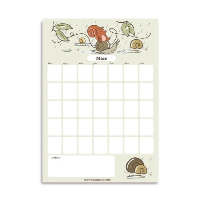 illustration : calendrier de mars à télécharger