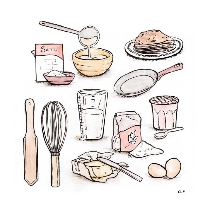Illustration : ingrédients pour faire les crêpes. aquarelle et encre de chine