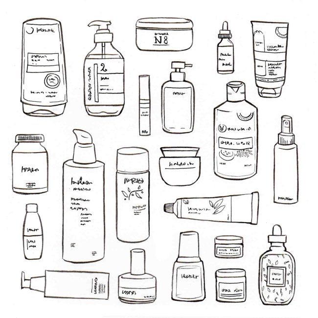 illustration : accumulation de packaging de flacons