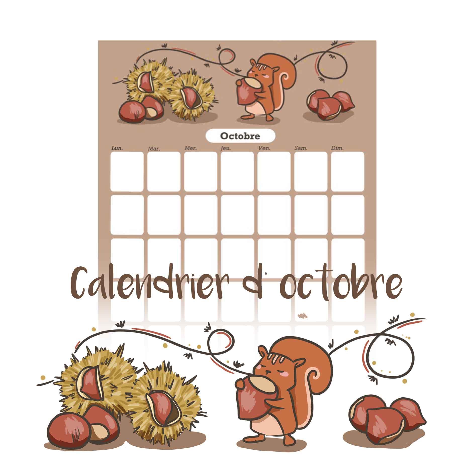 illustration : calendrier d'octobre à telecharger gratuitement