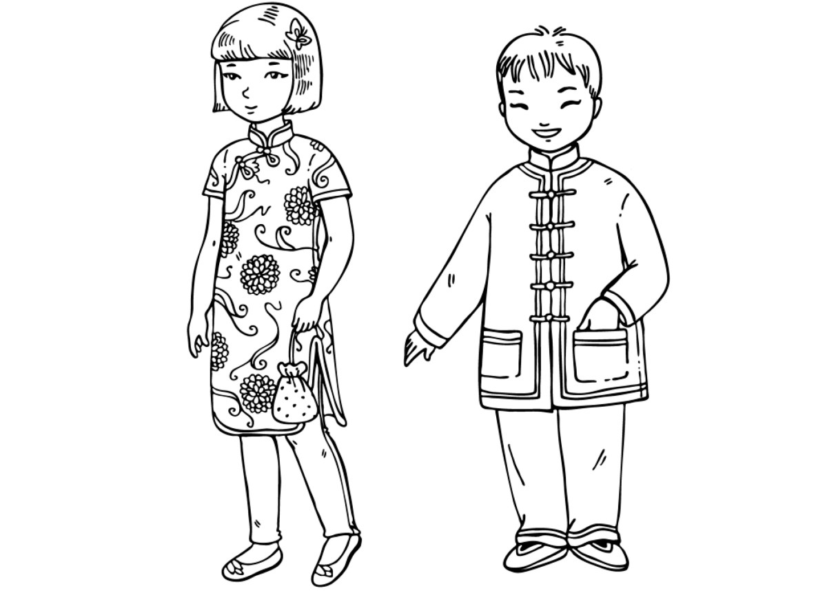 Chinese Traditional Clothes Coloring Pages