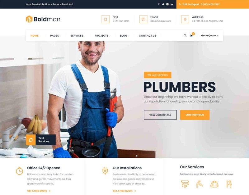 Tema de WordPress Boldman Plumber
