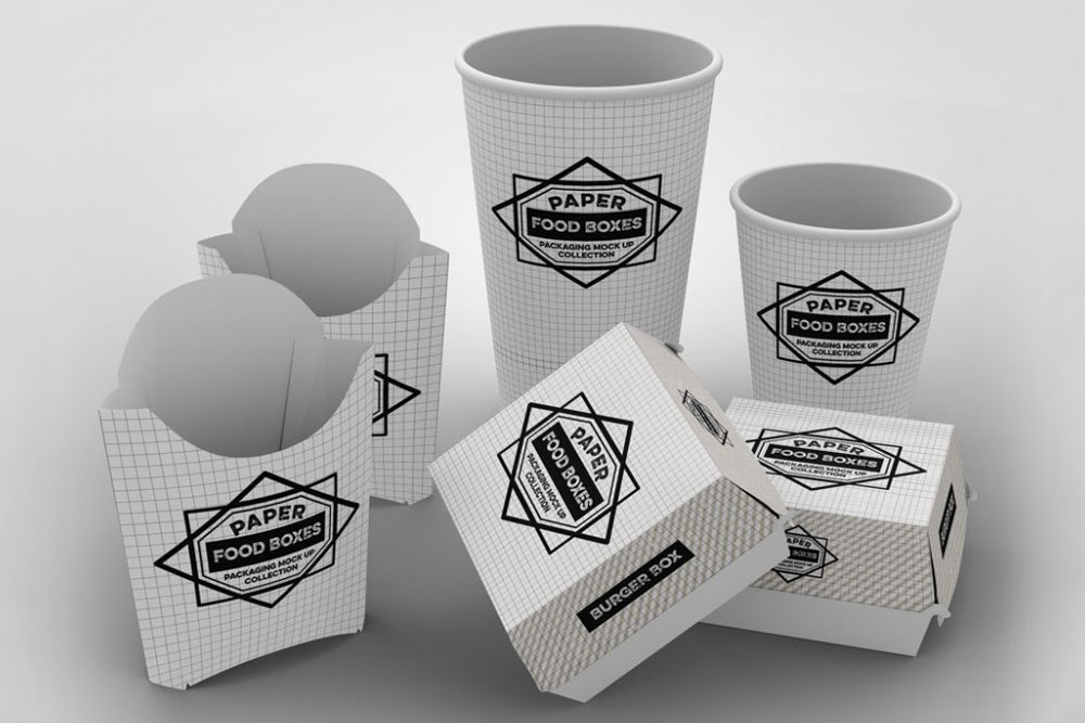 Vector fast food set of realistic hamburger classic burger potatoes french fries in white package box blank cardboard cups for coffee soft drinks with straw and craft paper take away handle lunch bags. 38 Useful Food Packaging Mockups For Graphic Design Colorlib