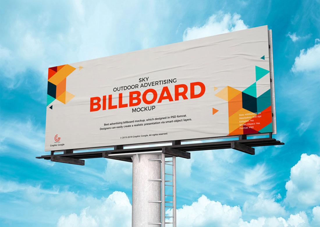 Publicidad exterior Billboard PSD Mockup gratis