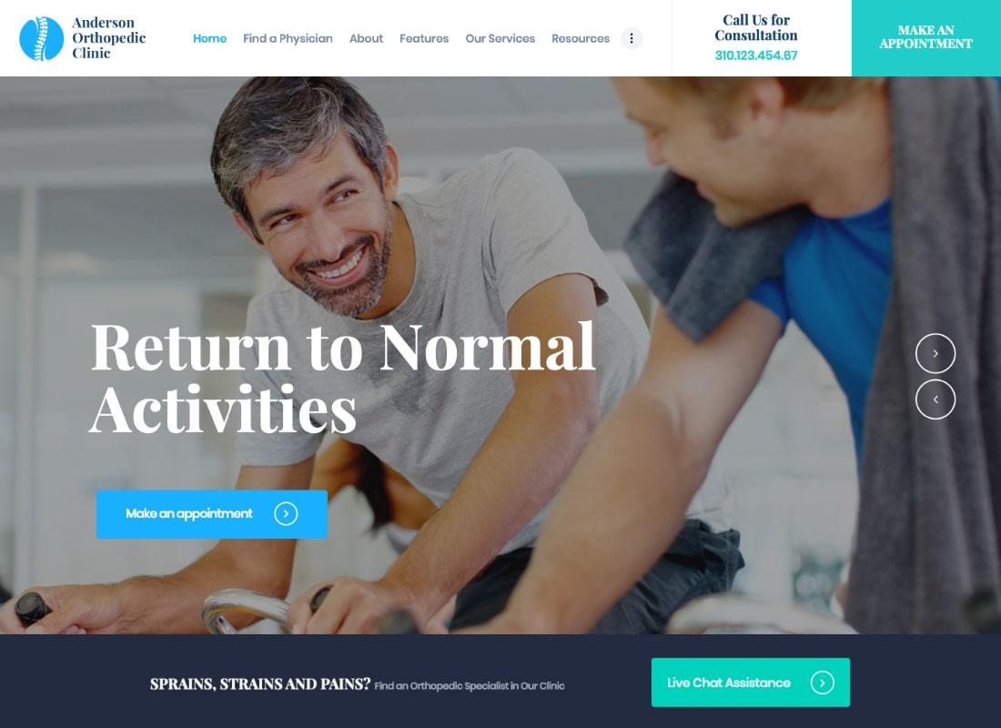 Anderson | Tema de WordPress para Clínica Ortopédica y Centro Médico