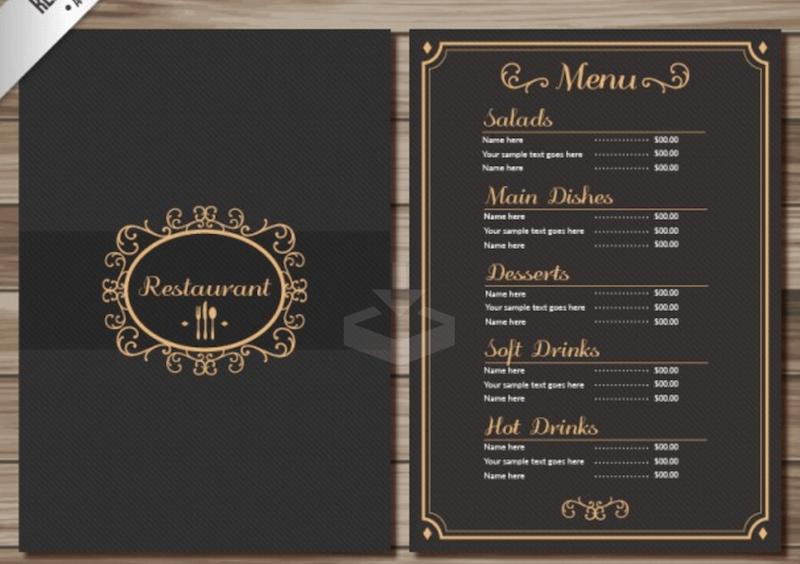 free restaurant menu psd templates