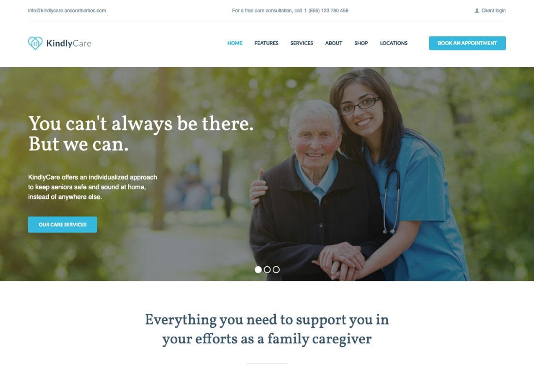 KindlyCare | Tema de WordPress para cuidado de ancianos y medicina