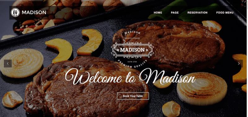 Madison - Plantilla Bootstrap de restaurante