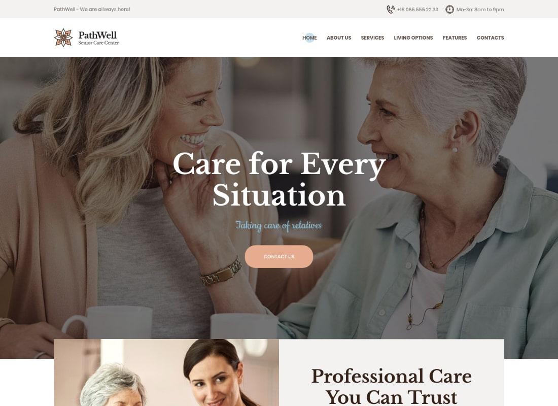 PathWell | Un tema de WordPress para el hospital de ancianos