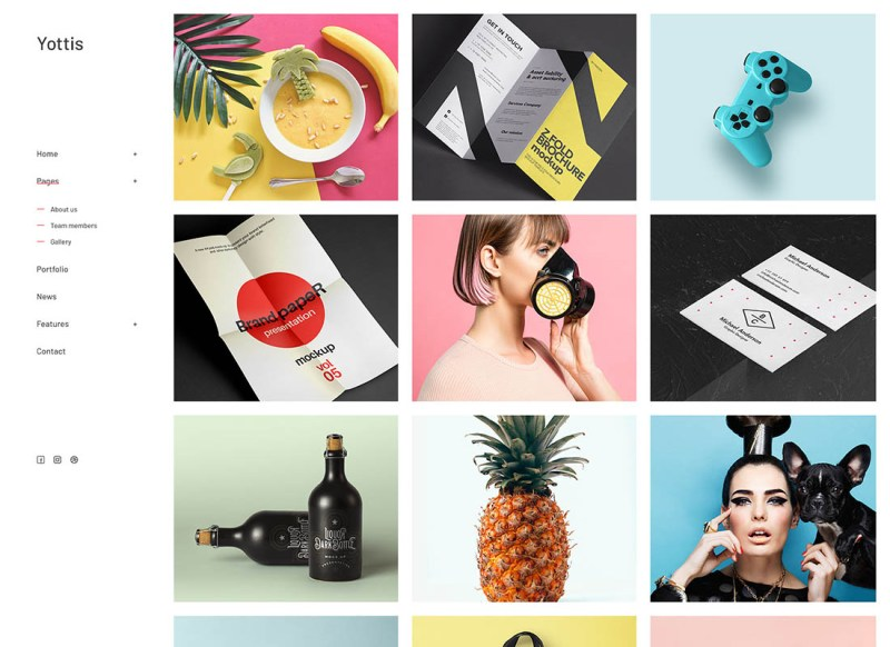 Yottis | Portafolio creativo personal Tema de WordPress + Tienda
