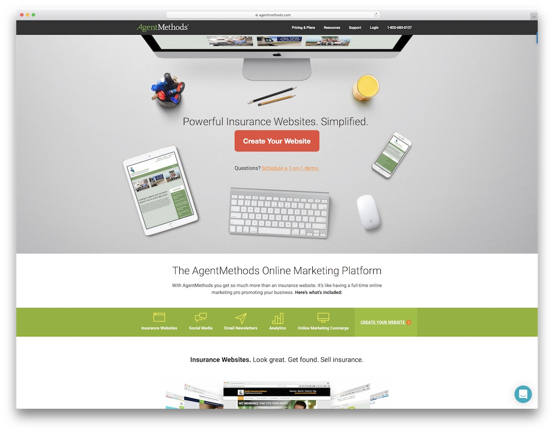 constructor de sitios web de seguros agentmethods