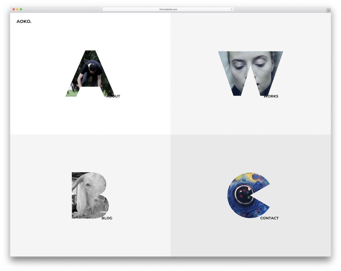 plantilla del sitio web de la galería aoko