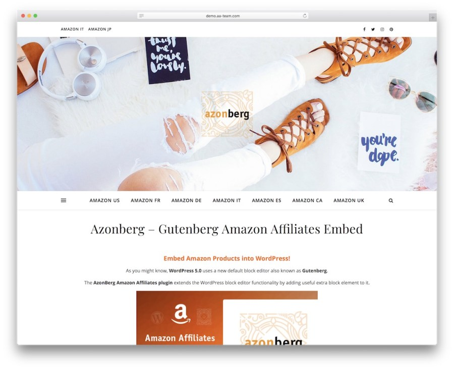 azonberg gutenberg amazon affiliates embed