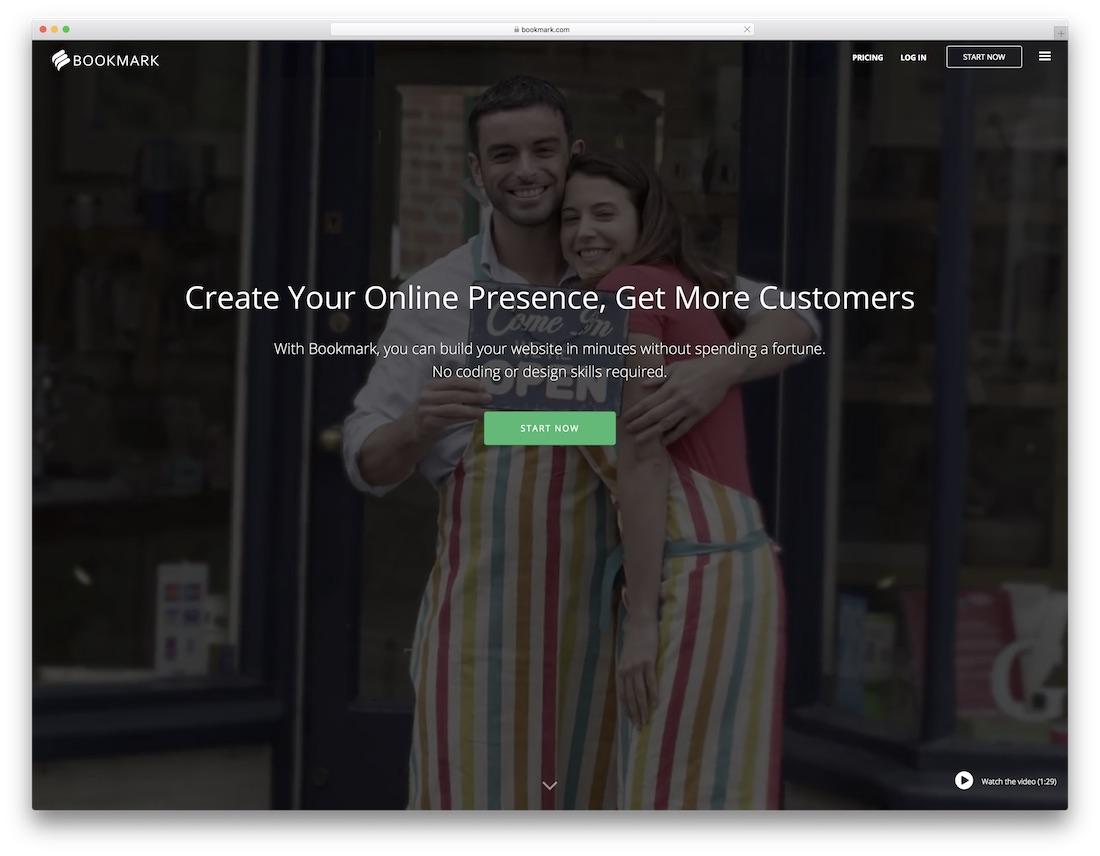 marcador creador de sitios web de seguros