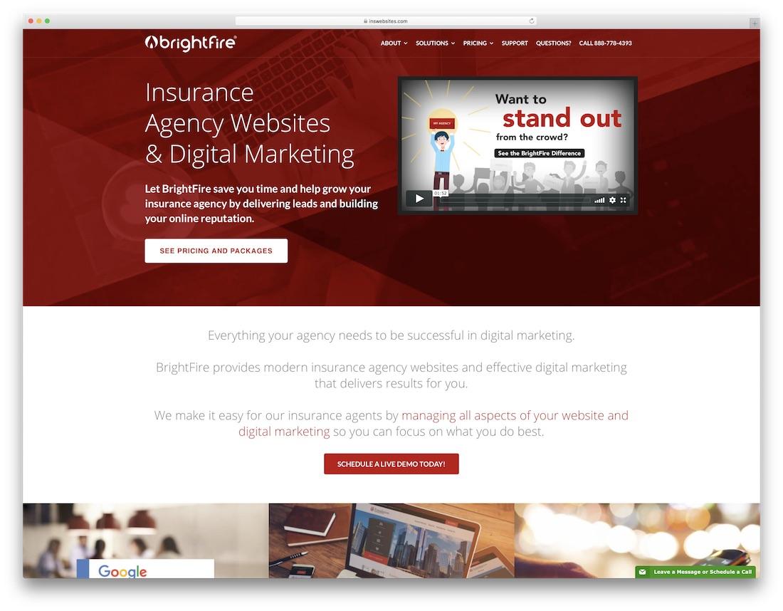 creador de sitios web de seguros brightfire