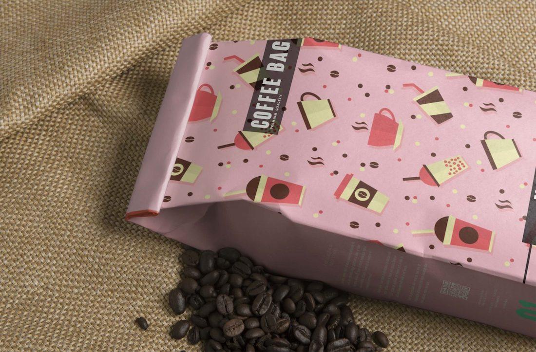 etiqueta de bolsa de café maqueta psd