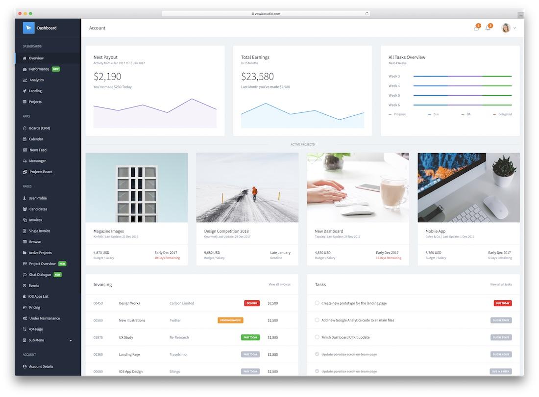 30 Best Material Design Admin Dashboard Templates