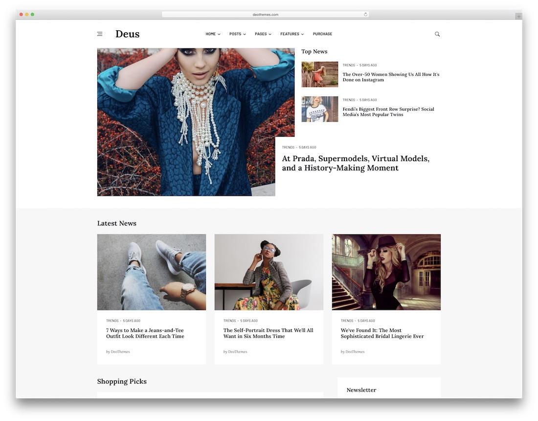 deus fashion website template