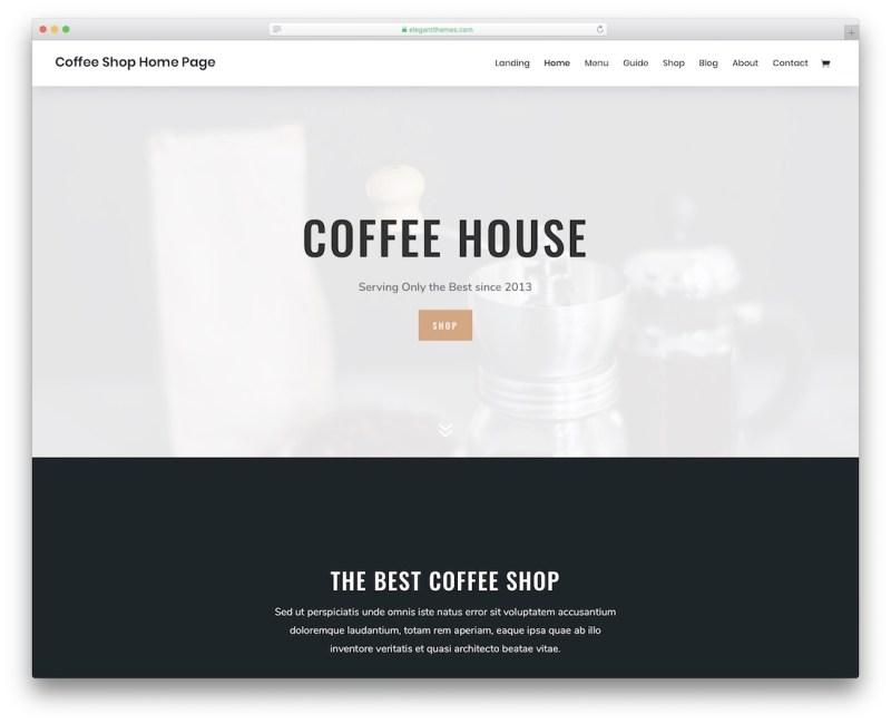 divi coffee shop tema de wordpress