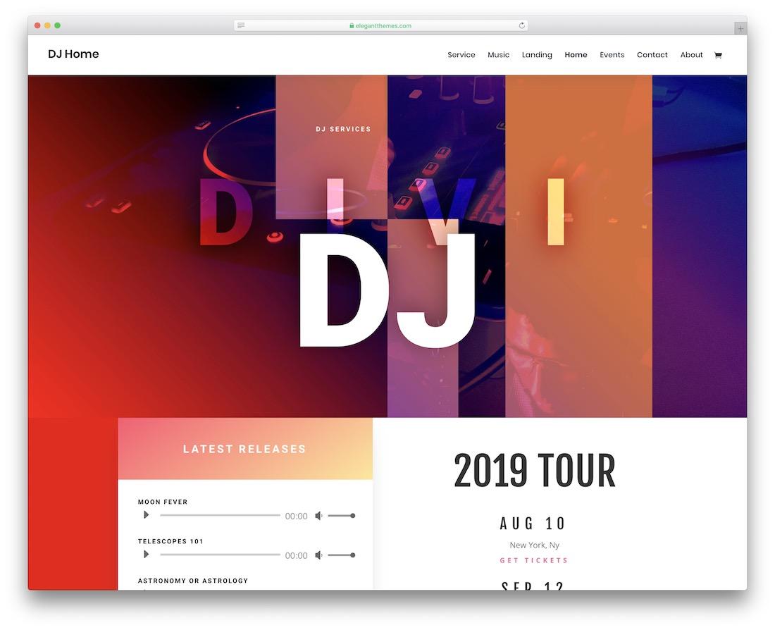 plantilla de sitio web divi music