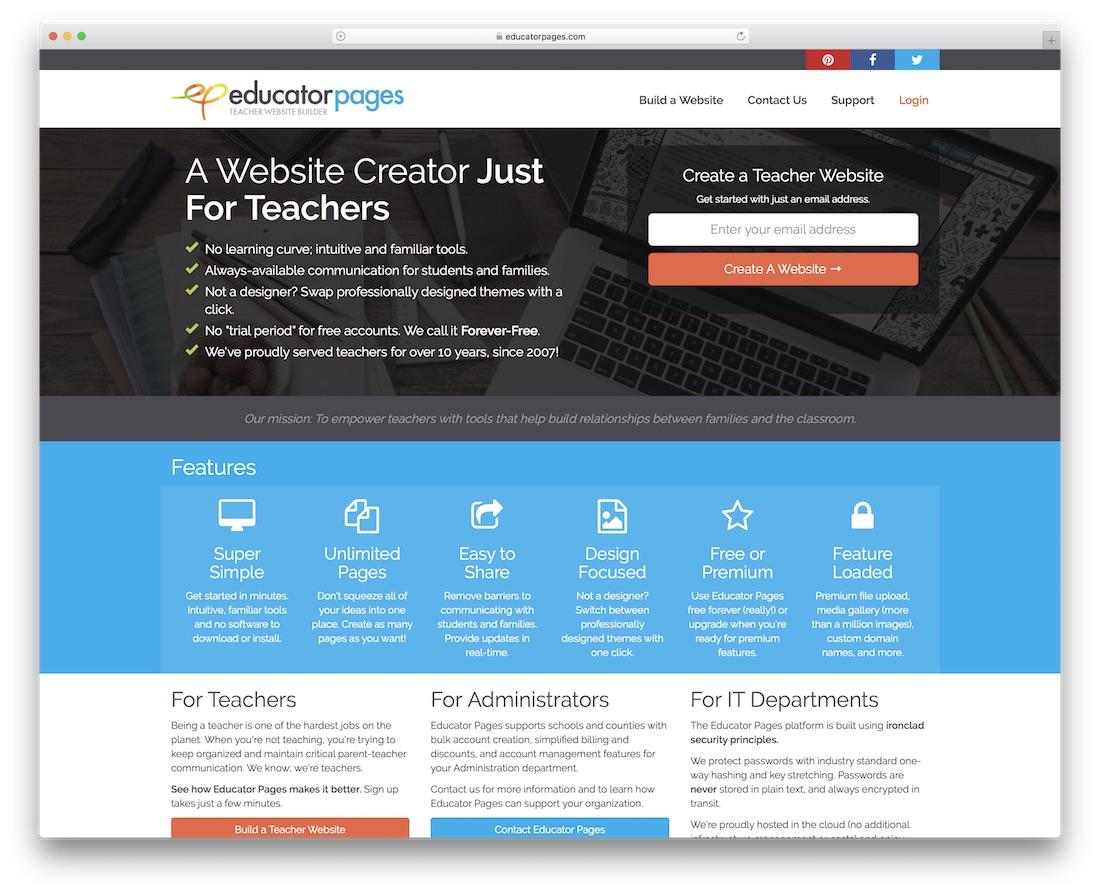 constructor de páginas web para educadores y maestros