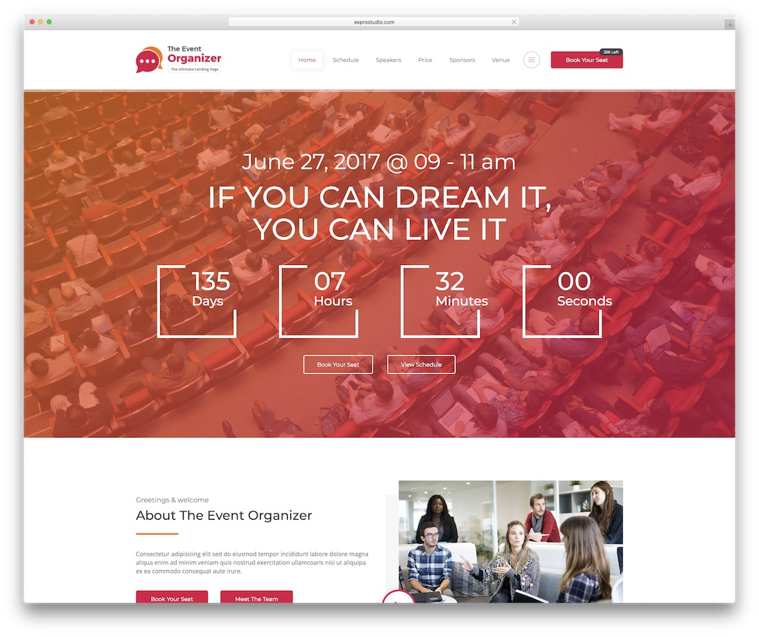 plantilla de sitio web organizador de eventos