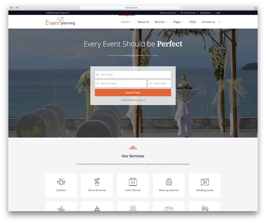plantilla de sitio web de planificación de eventos