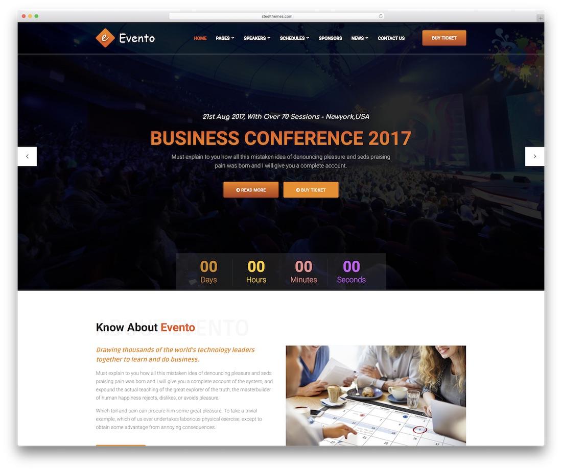 plantilla de sitio web de eventos