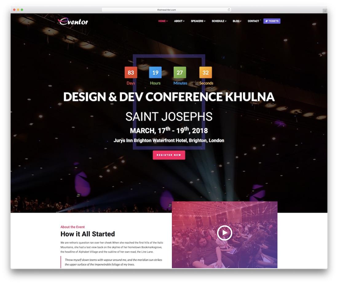 plantilla de sitio web eventor